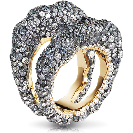 Fabergé Tatiana Grise Ring – features 737 stones, including grey diamonds, white diamonds, and grey spinels set in 18kt pink gold