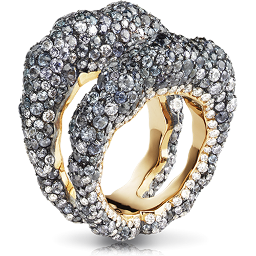 Tatiana 18K Gold White & Grey Diamond Encrusted Double Band Ring With Spinels