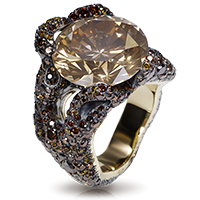 Fabergé Tree Root Ring – 1 large round coloured diamond, yellow diamonds, brown diamonds, and orange diamonds, set in sterling silver and 18kt yellow gold.