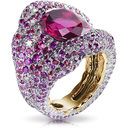 Vagabonde Drapée Rosée Ring – features 728 stones, including 1 oval red spinel (8.52cts) centre stone, red and pink sapphires, white and pink diamonds, round spinels, set in 18kt pink and white gold palladium.