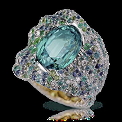 Gold Chrysoberyl, Diamond & Multicoloured Gemstone Ring | Fabergé