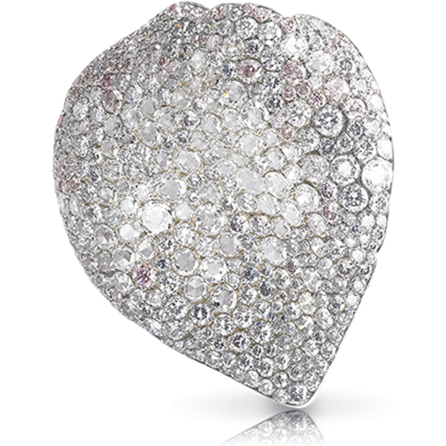 Fabergé White Rose Brooch – features 375 diamonds, including round white diamonds (5.07cts), round pink, violet, and blue diamonds (10.98cts) set in yellow gold and sterling silver in the shape of a rose petal
