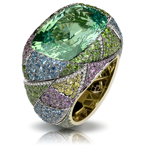 Kaleidoscope 17ct Antique Green Chrysoberyl Ring With Diamonds & Coloured Gemstones