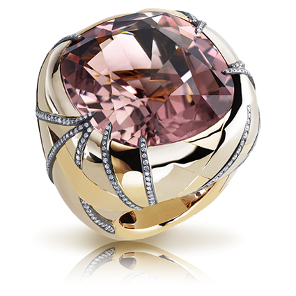 Fabergé Illumination Ring – features 1 cushion-cut greenish-pink tourmaline (56.68cts), round white diamonds, set in 18kt grey and pink gold, and sterling silver.