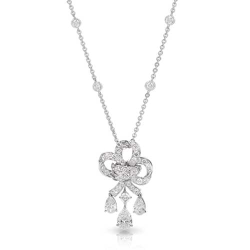 White Gold Diamond Drop Pendant | Fabergé