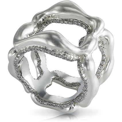 Fabergé Gypsy Grey Platinum Ring – features round white diamonds set in platinum and 18kt gold.
