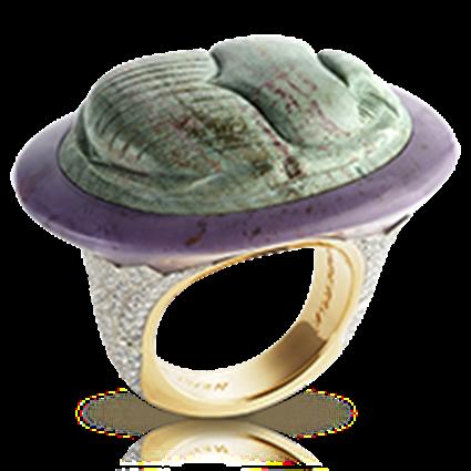 Scarab Beetle Yellow Gold Diamond & Green Jasper Ring | Fabergé