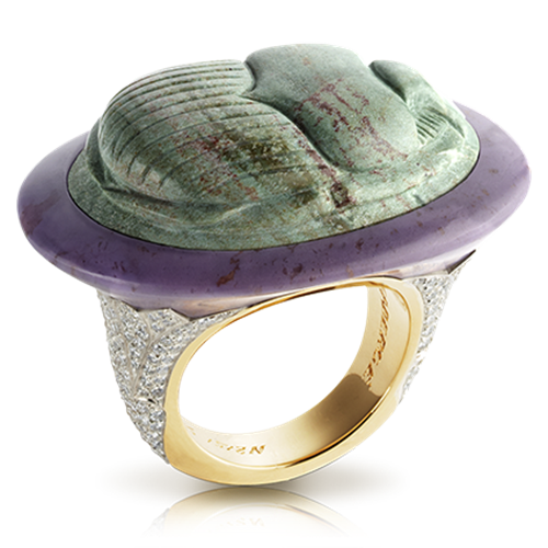 18K Yellow Gold Green Jasper Scarab Beetle Ring With Diamonds