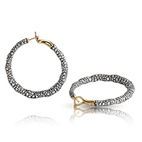Fabergé Charmeuse Fines Créoles Earrings – hoop earrings featuring 998 round white diamonds set in sterling silver and 18kt yellow gold.