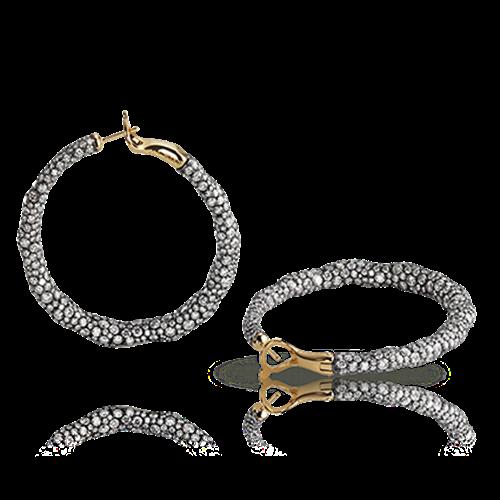 Charmeuse 18K Gold & Silver White Diamond Encrusted Hoop Earrings