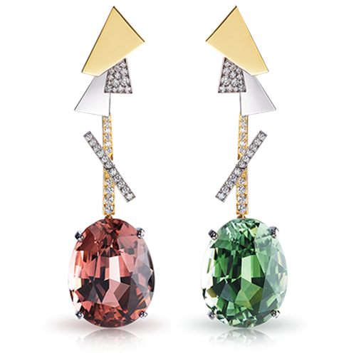 Gold Red & Green Tourmaline Earrings | Fabergé