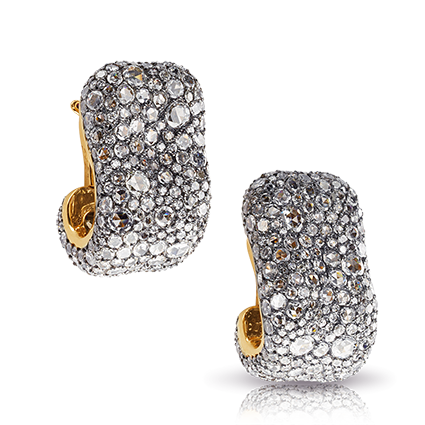 Yellow Gold Silver Diamond Clip On Earrings | Fabergé