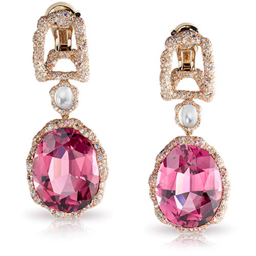 Katharina 18K Gold Diamond, Moonstone & Pink Tourmaline Drop Earrings