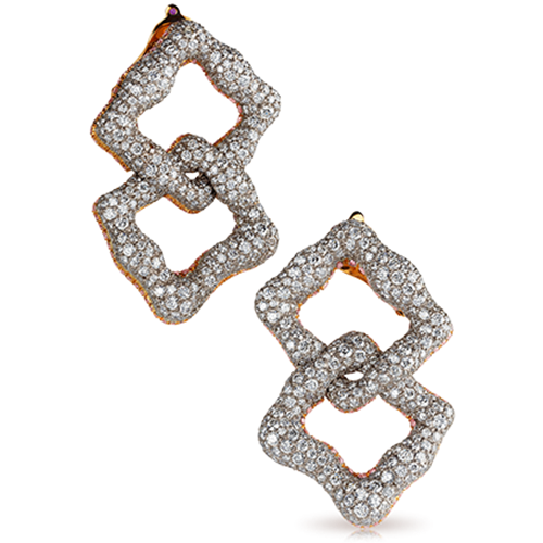 Fabergé Gypsy Earrings – featuring intertwined organic squares with 1,181 stones, including pink diamonds, white diamonds, and ruby, set in 18kt white and pink gold.