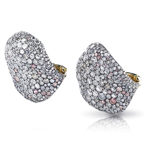 Fabergé White Rose Petal Earrings – features round white diamonds, round pink diamonds, round violet diamonds, and round blue diamonds, set in 18kt yellow gold and sterling silver in the shape of rose petals.