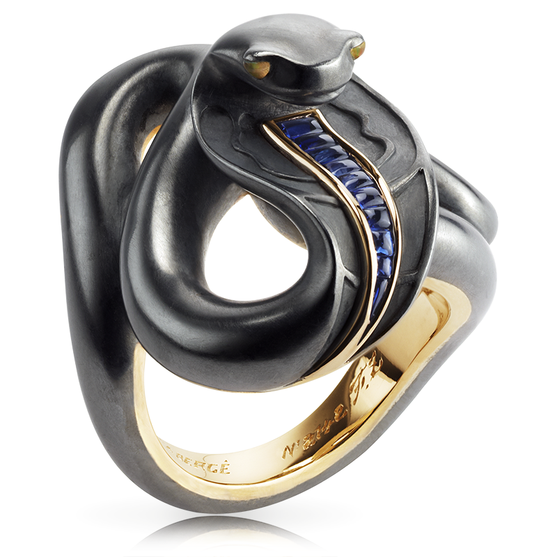 Fabergé Black Sea Serpent Ring – featuring round blue sapphires and round opals, set in 18kt yellow and white gold and sterling silver, shaped like a snake.