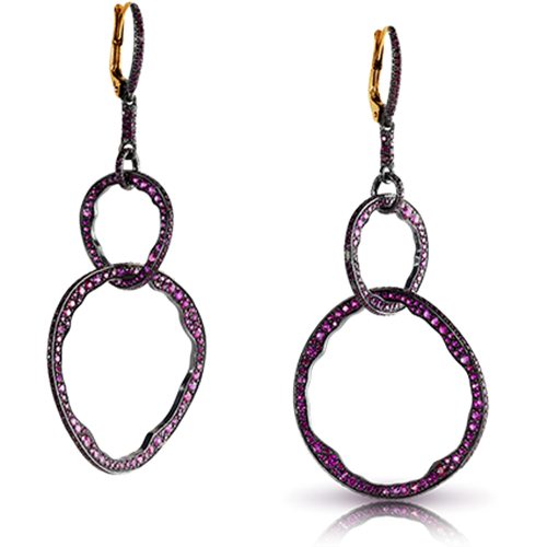 Fabergé Mala Rubies Earrings – interlinking hoops featuring 640 round rubies set in 18kt yellow gold and sterling silver.