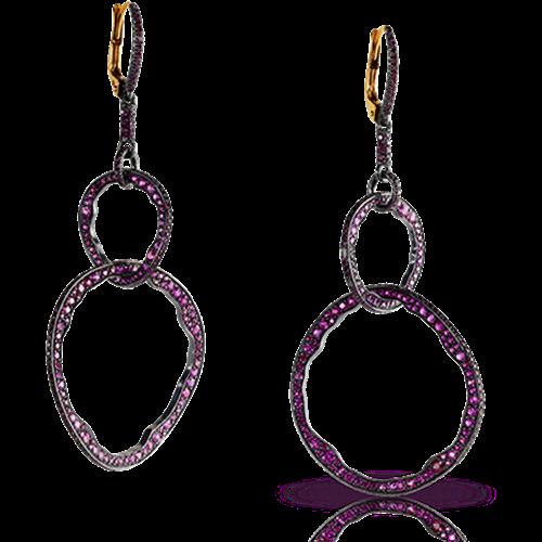 Mala 18K Gold & Silver Ruby Hoop Drop Earrings