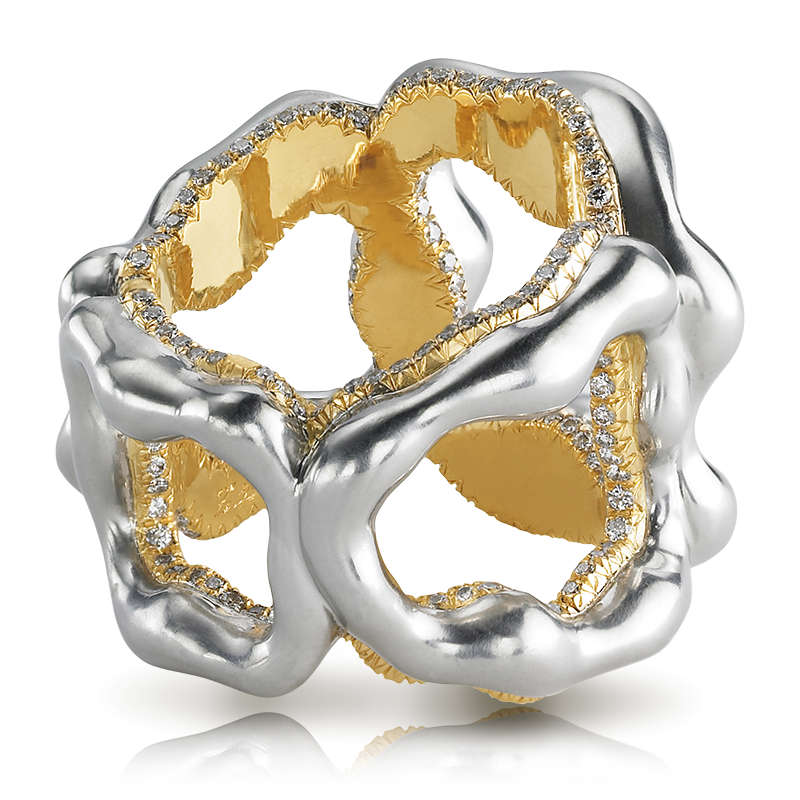 Platinum, Gold and Diamond Ring - Fabergé Gypsy Grey Gold Ring