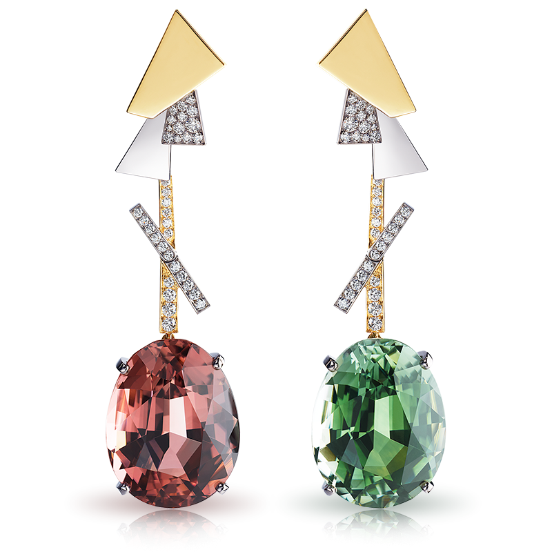 Fabergé Dissonance Earrings – drop earrings featuring 1 oval blueish-yellowish-green tourmaline, 1 brownish-pink tourmaline, 68 round white diamonds, and 1 ruby, set in 18kt white and rose gold.
