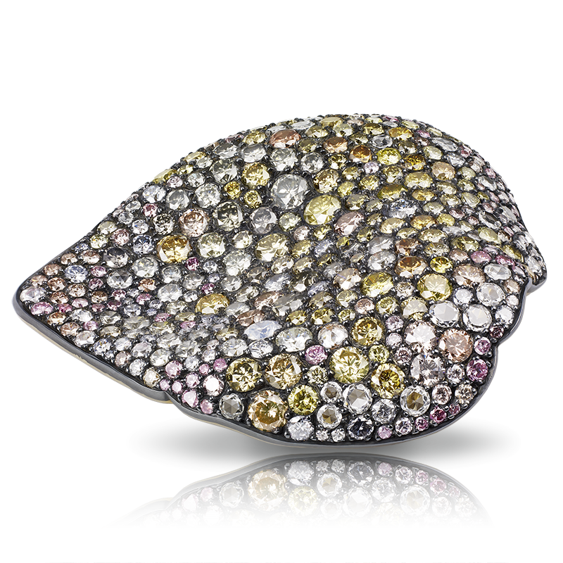 Fabergé Dream Rose Petal Brooch – features 352 stones, including round pink, blue-grey, and brown diamonds (16.13cts), and round white diamonds (1.50cts) set in 18kt gold and sterling silver.