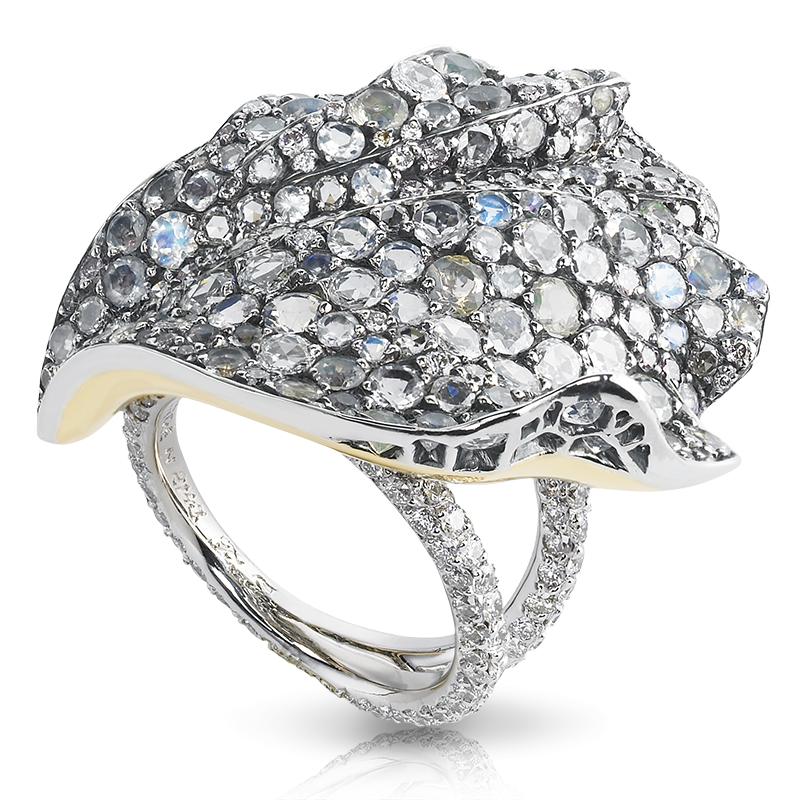 Fabergé Hibiscus Ring – featuring 466 stones, including white and pink diamonds, round fire opals and moonstones, set in 18kt gold and sterling silver shaped like a hibiscus flower petal.