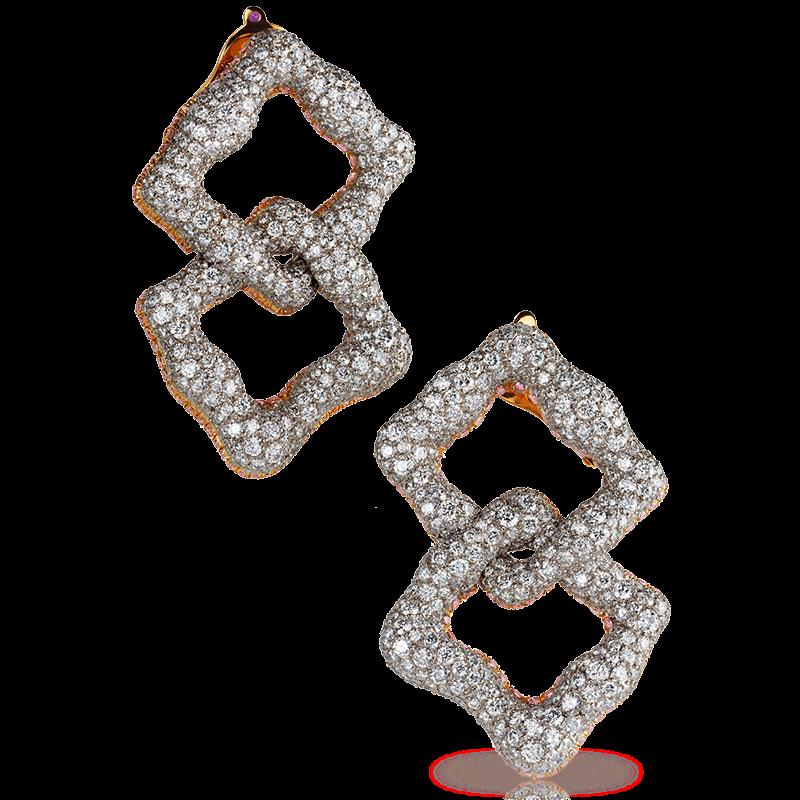 White & Rose Gold Diamond Earrings | Fabergé