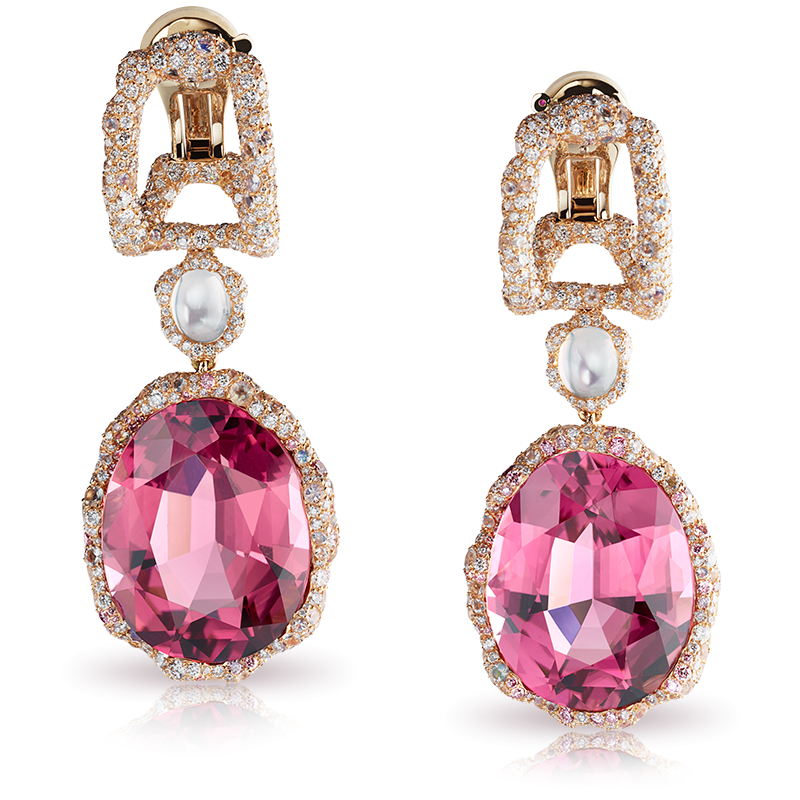 Fabergé Katharina Earrings – drop earrings each featuring an oval pink tourmaline, round pink diamonds, round white diamonds, and moonstones, set in 18kt white and rose gold.