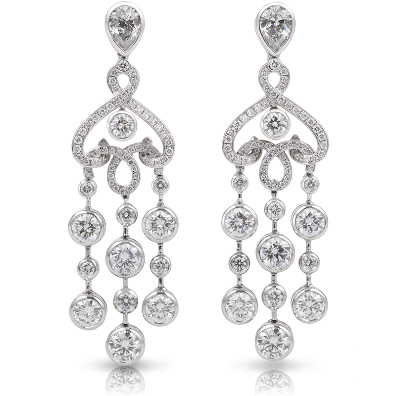 White Gold Diamond Earrings - Fabergé White Damask Earrings