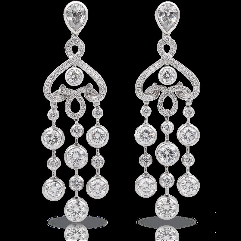 White Gold Diamond Chandelier Earrings | Fabergé
