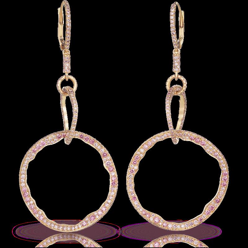 Fabergé Mala Powder Pink Earrings – drop earrings feature 640 round pink diamonds set in 18kt pink gold.