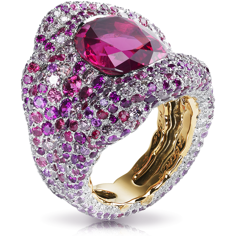Gold Red Spinel, Diamond & Multicoloured Gemstone Ring | Fabergé