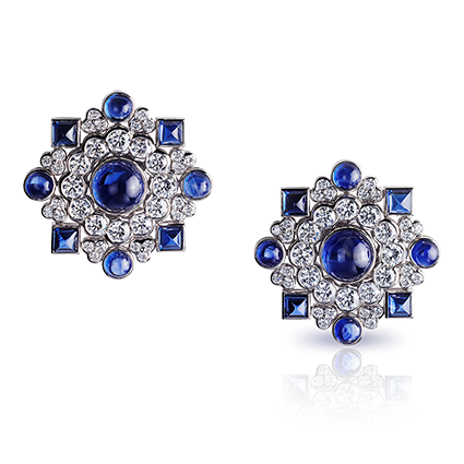 Sapphire and Diamond Earrings - Faberge Dentelle de Perles Ear Studs