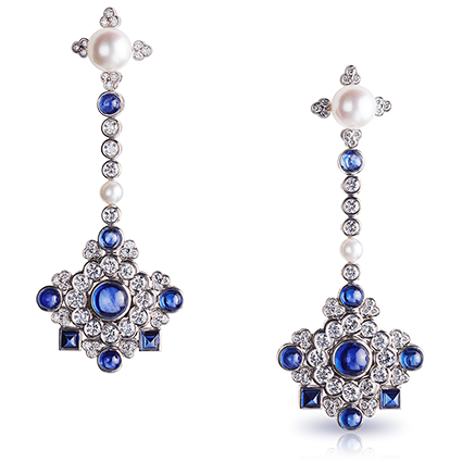 Chandelier Earrings - Faberge Dentelle  de Perles Chandelier Earrings