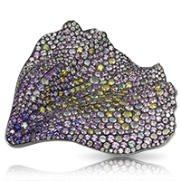 Fabergé Fallen Poppy Petal Brooch – features 572 stones, including round yellow, pink, and violet diamonds, round demantoids and opals, and white diamonds in the shape of a poppy flower petal.