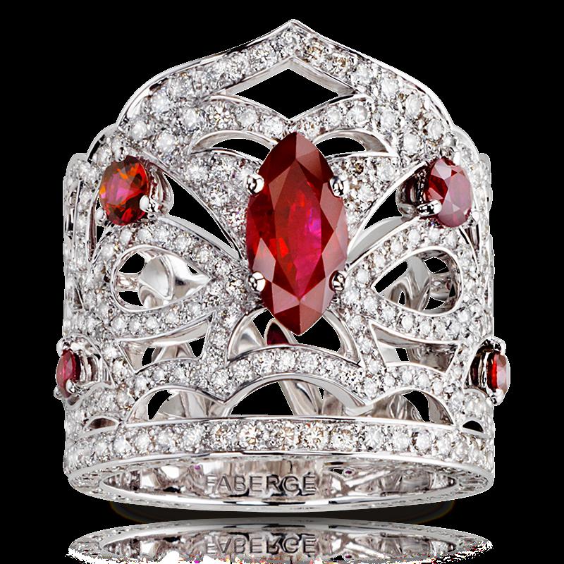 White Gold Ruby & Diamond Crown Ring | Fabergé