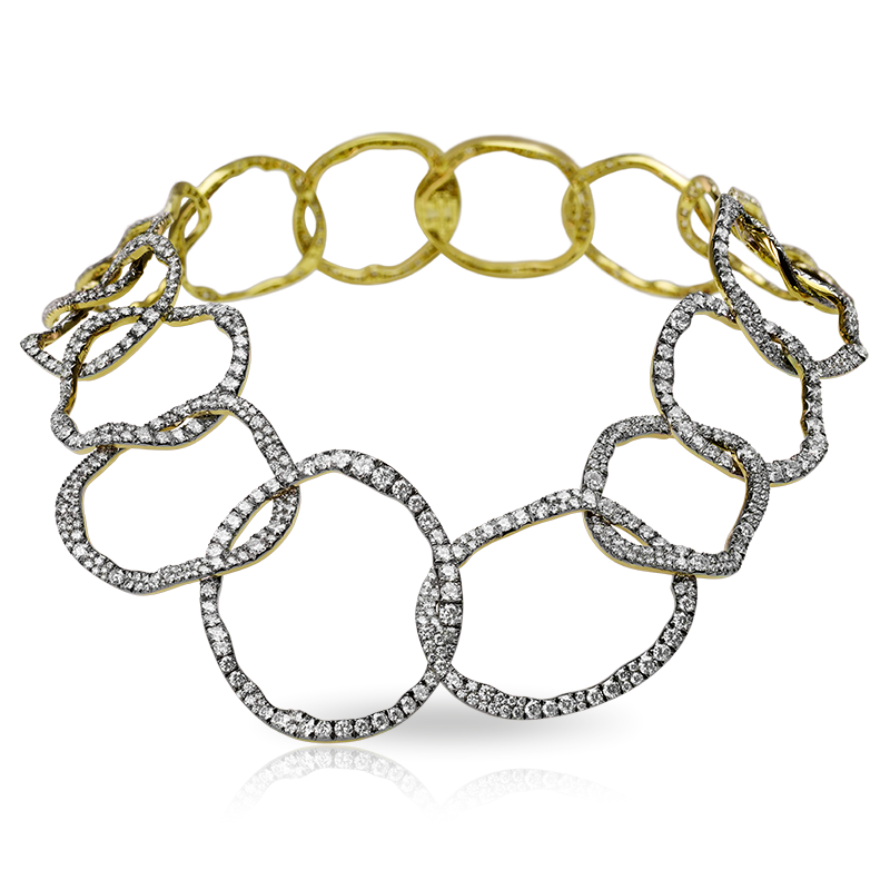Fabergé Ida Pure White Necklace - features interlinked organic hoops covered with 1,115 white diamonds (35.06cts), set in yellow and white gold.