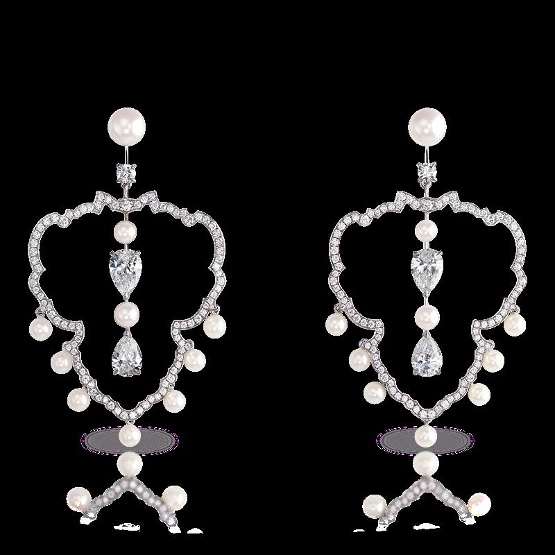 White Gold Diamond & Pearl Chandelier Earrings   Fabergé