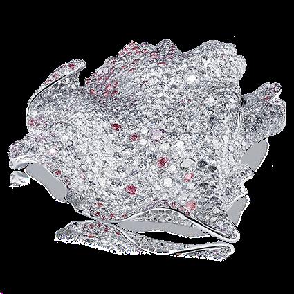 Fabergé Églantine Brooch – features 887 stones, including round white diamonds, round pink diamonds, round blue-grey diamonds, set in 18kt white gold in the shape of a rose petal.