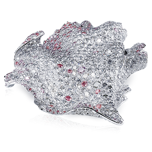 Fabergé Églantine Brooch – features 887 stones, including round white diamonds, round pink diamonds, round blue-grey diamonds, set in 18kt white gold in the shape of a rose petal.