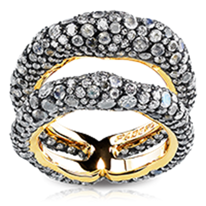 Fabergé Charmeuse D'Après Minuit Ring – designed by Frederic Zaavy, features 536 stones, including rose-cut white diamonds, round white diamonds, and moonstones, set in 18kt gold and sterling silver.