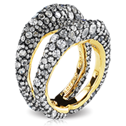 Yellow Gold & Silver Diamond Ring | Fabergé