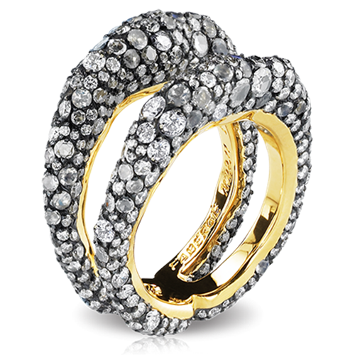 Fabergé Charmeuse De Jour Ring – features 532 stones, including round white diamonds, moonstones, rose-cut white diamonds, set in 18kt gold and sterling silver.