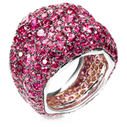 Emotion White & Rose Gold Pink Sapphire Grand Ring | Fabergé