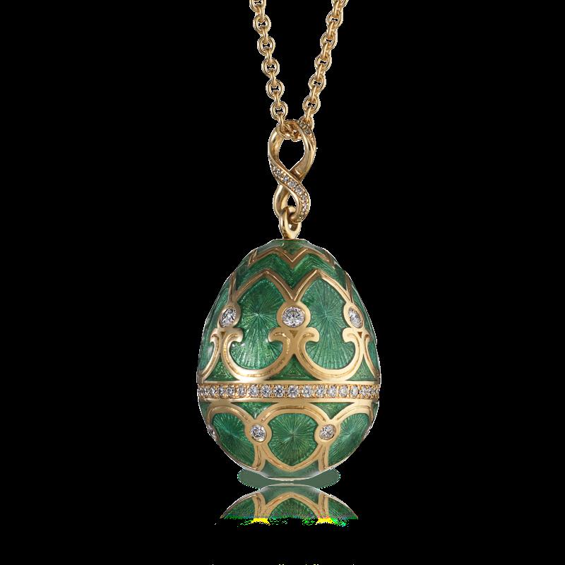 oeuf tsarskoye selo vert viridian faberg 201 egg pendant