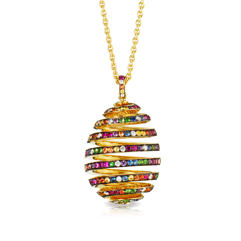 Faberge Spiral Multi Coloured Pendant
