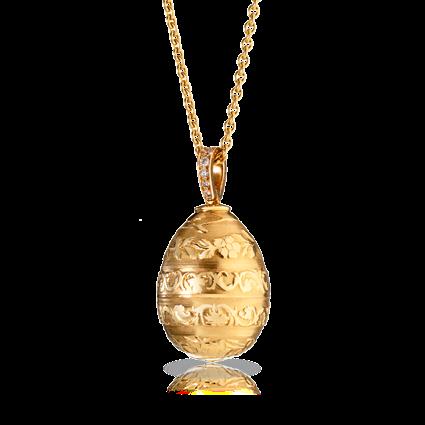 Fabergé Egg Pendant - Oeuf Guilloché Fleurs Or Rose