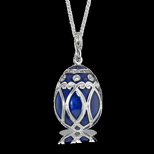 White Gold Diamond & Royal Blue Guilloché Enamel Egg Pendant | Fabergé