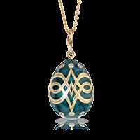 Faberge Egg Pendant - Palais Gatchina Petrol Blue Pendant