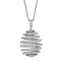 Diamond and White Gold Egg Pendant - Fabergé  Spiral White Gold Pendant